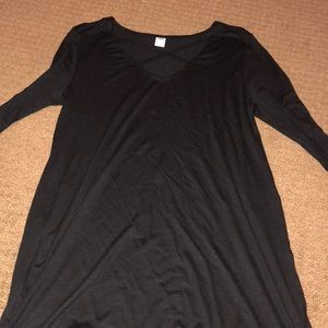 Black tunic top with cut outs